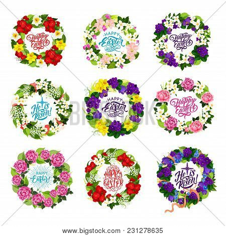 Happy Easter Holiday Icons Of Spring Flowers Bunches And Crucifix Cross For Christian Traditional Re