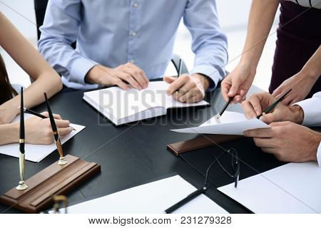 Lawyer having meeting in office