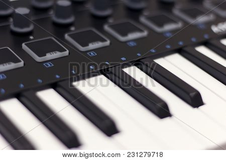 Midi Keyboard Is White Close-up. Modern Electronic Music, Studio Equipment