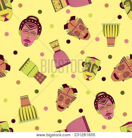 Bright Vector Seamless Pattern With African Masks And Drums.