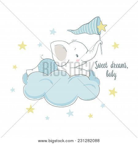 Little Elephant On The Cloud. Cartoon Vector Illustration For Kids. Use For Print Design, Surface De