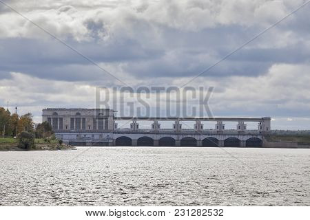 Uglich, Russia - July 19, 2016: The Uglich Hydroelectric Power Plant On The Volga River - One Of The