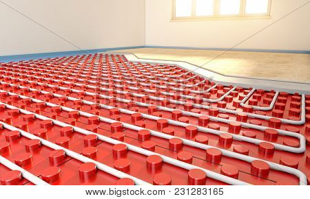 radiant floor panel installation in empty room 3d rendering image
