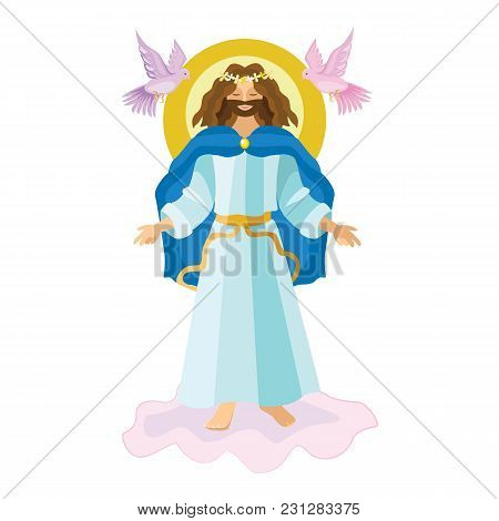 Easter Resurrection Religious Background - Risen Lord Jesus Christ On Cloud In The Sky Vector Illust