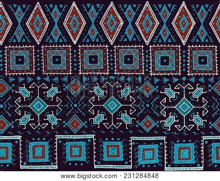 Tribal Seamless Pattern. Indian Or African Ethnic Stamp Style. Hand-drawn Vector Image For Textile,