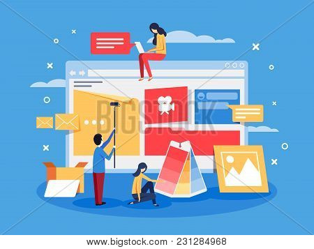 Creation Of Web Design For Site. Development Team Doing Project. Vector Illustration