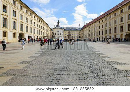 Tourists In Prague Castle