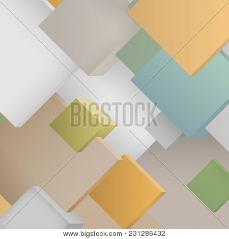 Abstract Colorful Pattern Consisting Of  Squares , Illustration.