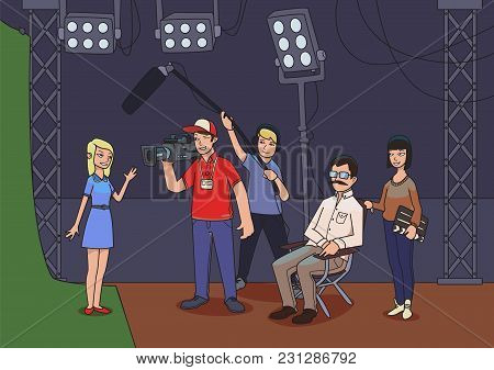Shooting A Movie Or A Tv Show. A Director, Cameramen And An Actress Or Model. Vector Illustration.