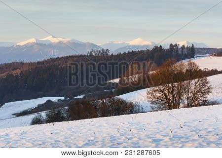 Turiec Region And View Of Mala Fatra Mountain Range In Winter.