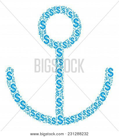 Anchor Mosaic Of Dollar Symbols. Vector Dollar Icons Are Combined Into Anchor Mosaic.