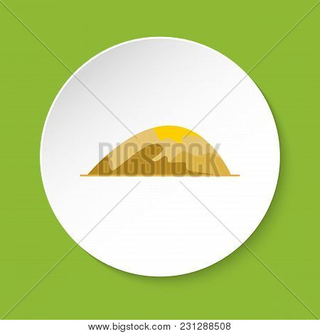 Low Rounded Hill Icon In Flat Style. Mountain Symbol Isolated On Round Button
