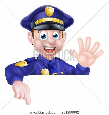 A Cartoon Friendly Policeman Leaning Over A Sign Waving And Pointing At It