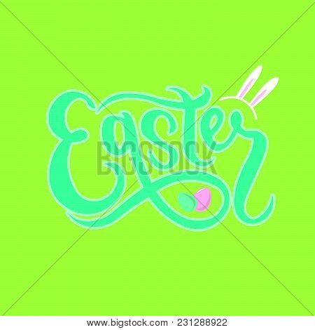 Hand Sketched Easter Text As Pascha Logotype, Badge And Icon. Drawn Resurrection Sunday Postcard, Ca
