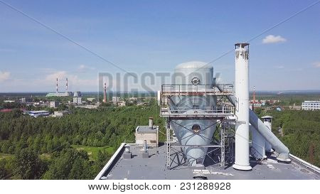 Cooling Tower On The Roof Floor, Cooling System. Chiller Water Cool And Old Dirty And Barbed. Field