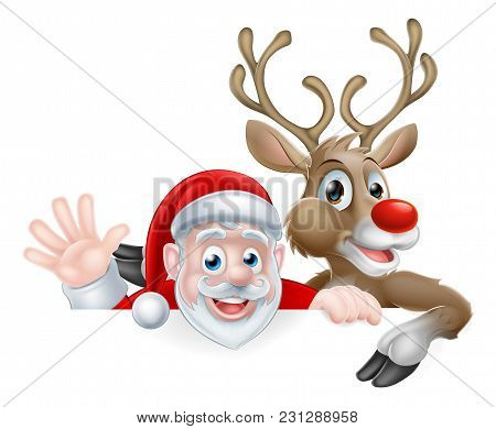 Christmas Illustration Of Cartoon Santa And Reindeer Peeking Above Sign Waving And Pointing