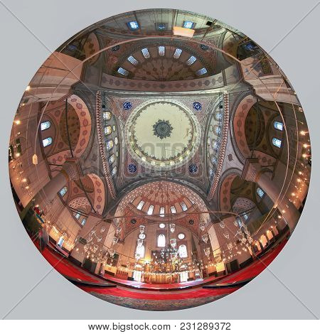 Istanbul, Turkey - March 29, 2012: Ceiling Of The Bayazid Mosque.