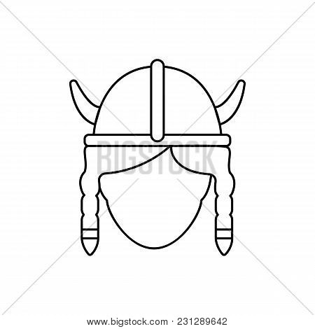Viking Female Icon. Outline Viking Female Vector Icon For Web Design Isolated On White Background