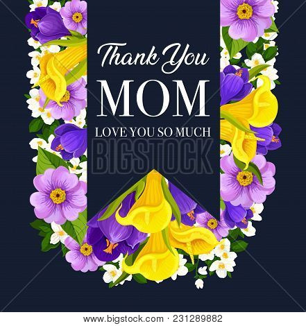 Mother Day Flower Bouquet Greeting Card With Festive Ribbon And Greeting Wishes. Spring Blossom Of C