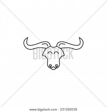 Bullish Head Icon. Outline Bullish Head Vector Icon For Web Design Isolated On White Background
