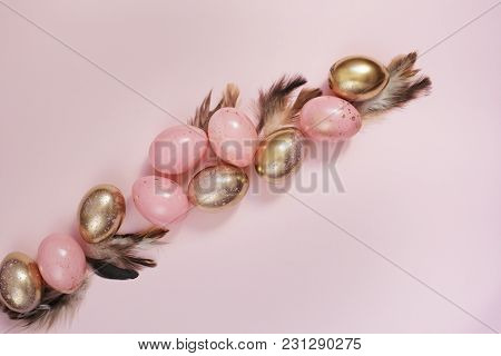 Pink And Gold Easter Eggs. Pastel Easter Concept With Eggs And Feathers. Punchy Pastels