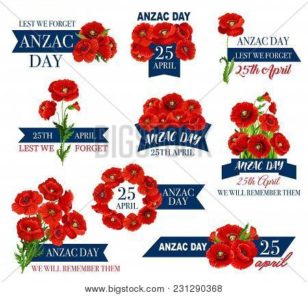 Anzac Day Icon With Red Poppy Flower And Memorial Ribbon. Australian And New Zealand Army Corps Reme