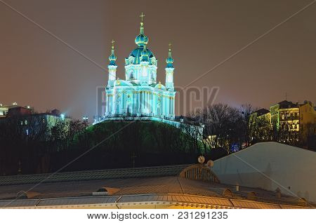 Beautiful Evening Illumination Of St. Andrew's Church (one Of The Main Attractions Of The City) And