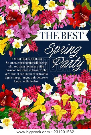 Spring Time Party Invitation Poster For Seasonal Springtime Holiday Event. Vector Design Of Floral B