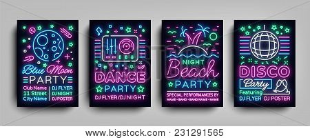 Nightclub Party Collection Of Posters. Night Party, Neon Sign, Neon Sign Flyer, Disco Ball, Musical