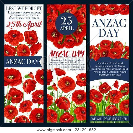Anzac Day Lest We Forget Festive Banner Design With Poppy. Red Flower Field With Poppy Blossom, Flor