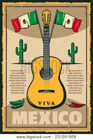 Cinco De Mayo Mexican Holiday Sketch Poster Of Mexico Flag And Jalapeno Peppers For Traditional Fies