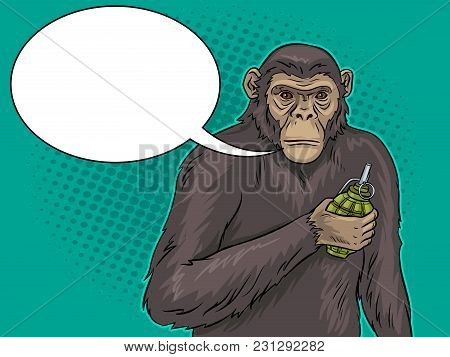 Monkey With Grenade Bomb In Hand Pop Art Retro Vector Illustration. Text Bubble. Color Background. C