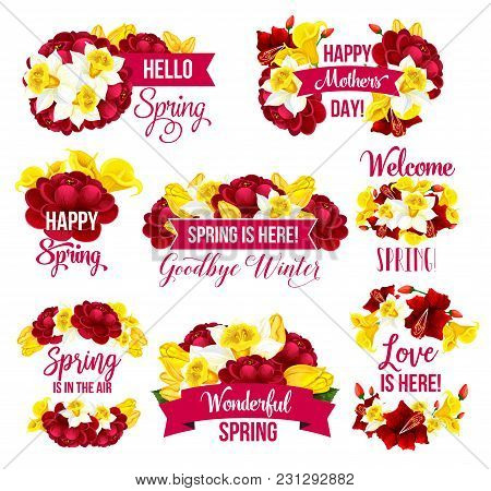 Spring Flower Icon For Springtime Season Holiday Greeting Card Design. Yellow And Red Blossom Of Daf