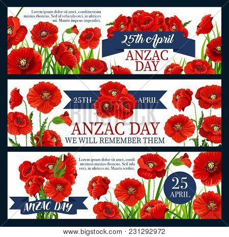 Anzac Day Poppy Flower Banner For Australian And New Zealand Army Corps Remembrance Day Design. Red