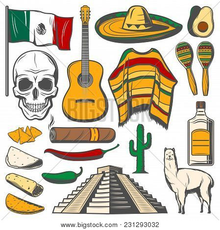Cinco De Mayo Fiesta Celebration Icons Of Tequila, Jalapeno Pepper Or Cactus And Sombrero. Vector Tr