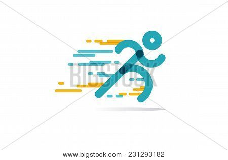 Run Icon Vector. Running Man In Motion. Simple Symbol Of Run Isolated On A White Background. Vector