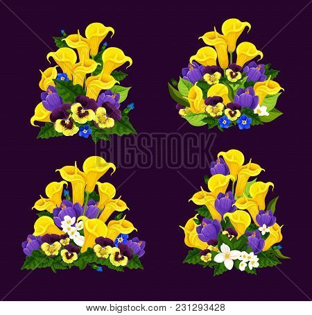 Spring Flower Icon Of Floral Bouquet With Blooming Garden Plant. Crocus, Calla Lily And Jasmine, Pan
