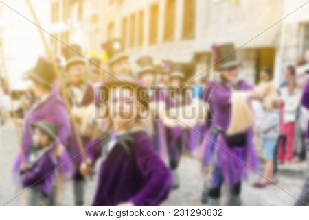 Colorful Of Carnival Parade Of The World, Traditional Festival Present With Man In Beautiful Costume