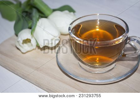 Colourful Tulips And Fresh Tea. Shallow Depth Of Field