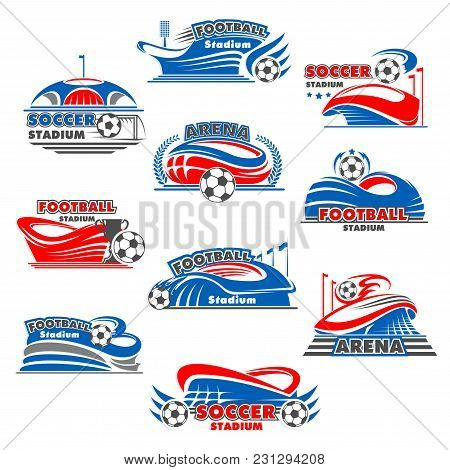 Soccer Stadium Icon Of Football Sport Game Building. Sporting Arena With Soccer Ball, Winner Trophy