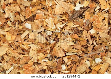 Sawdust Texture, Close-up Background Of Brown Sawdust