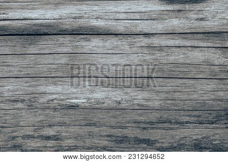 Grunge Texture Of Old Boards, Horizontal Stripes, Gray, With Darkened Patches.