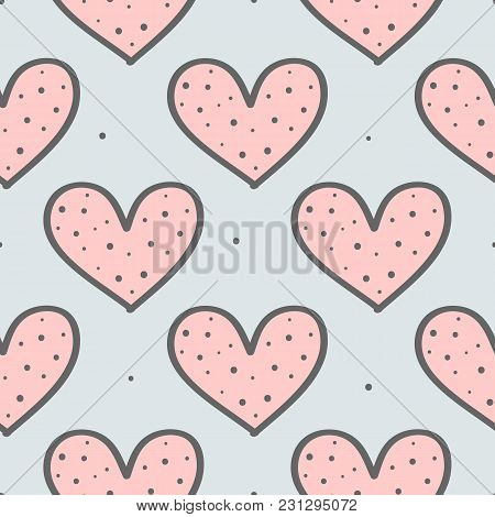 Cute Seamless Pattern With Repeating Hearts And Round Dots. Drawn By Hand, Sketch, Doodle. Endless P