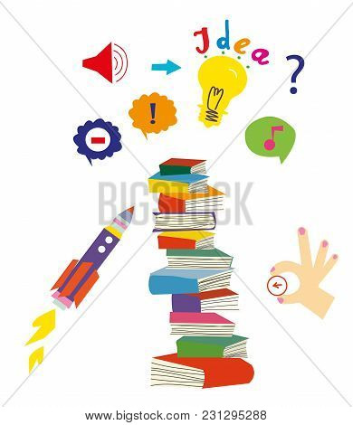 Idea And Education Set With Book And Imagination Symbols. Vector Graphic Illustration