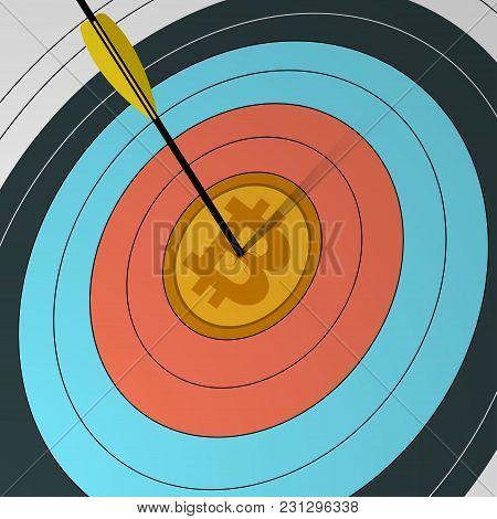 Arrow Hit The Center Of The Target With A Symbol Of Bitcoin Cryptocurrency. The Concept Of Virtual M