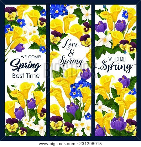 Welcome Spring Greeting Banner With Blooming Flower For Springtime Season Holiday Template. Spring F