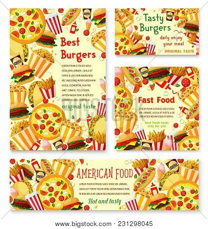 Fast Food Burger Cafe Menu Posters Or Banners Design Template For Fastfood Restaurant Bistro. Vector