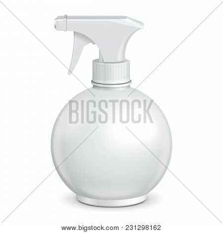 Spray Pistol Cleaner Plastic Round Plastic Bottle White. Vector Eps10