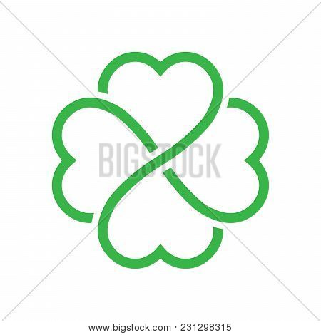 Shamrock Silhouette - Green Outline Four Leaf Clover Icon. Good Luck Theme Design Element. Simple Ge
