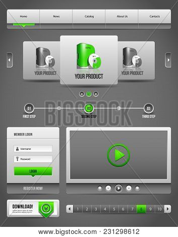 Modern Clean Website Design Elements Grey Green Gray 2:  Download, Pagination, Video, Player